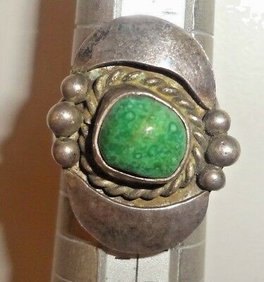 Old Pawn Silver & Green Agate or Turquoise Stone Ring Sz.6-6.25