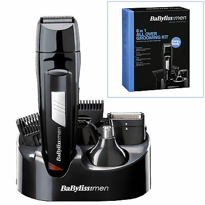 Mens Babyliss Cordless Rechargerable Trimmer 8 In 1 Male Grooming Clippers Kit