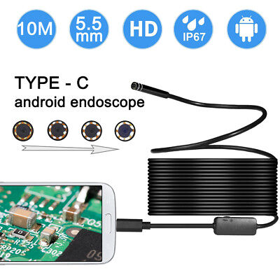 10M 8mm 2 in 1 Endoscope USB Type C Rigid Borescope Camera 8 LED for PC Android