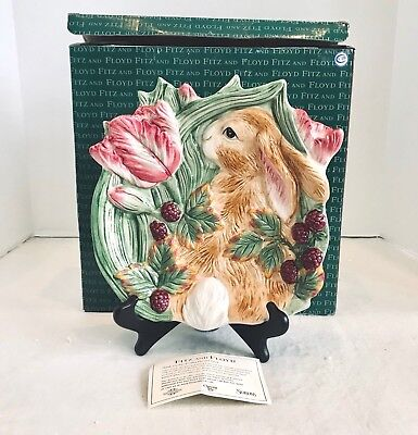 """Fitz and Floyd Blackberry Rabbit 9"""" Canapé Plate 2058/540 With Original Box"""