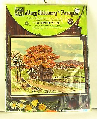 Vintage PARAGON GALLERY STITCHERY Crewel Embroidery Kit Covered Bridge Fall