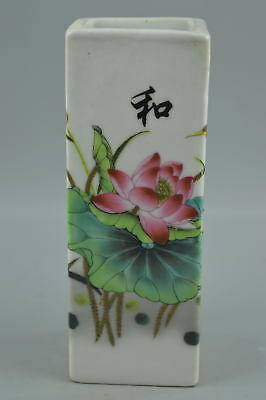 Fine Gift Chinese Collect Old Porcelain Paint Bloomy Lotus Rare Usable Brush Pot