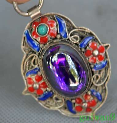 Collectable Chinese Old Miao Silver Armor Crystal Carve Flower Noble Pendant