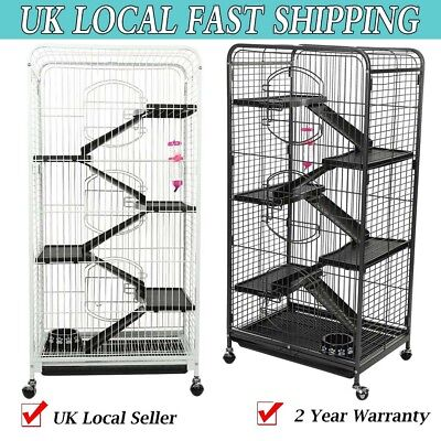 5 Tier Ladder Deck Cage Rodent Hutch for Rat Ferret Chinchilla Small Pets Wheels