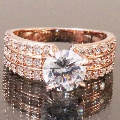 Rose Gold Plated 1.5 Ct Round Diamond Band Ring Set Women Engagement Gift RX11