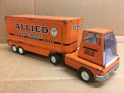 Vintage 1960's TONKA ALLIED VAN LINES MOVING TRUCK and TRAILER toy advertising