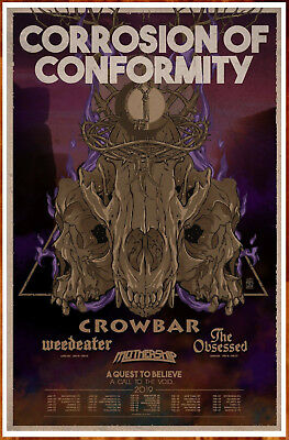 CORROSION OF CONFORMITY | CROWBAR | WEEDEATER 2019 Tour Ltd Ed New RARE Poster!