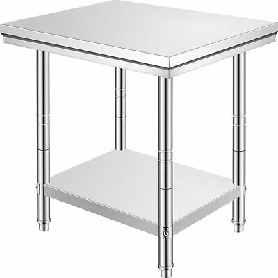 Stainless Steel Kitchen Work Bench Food Prep Catering Table 60cmx76cmx80cm New