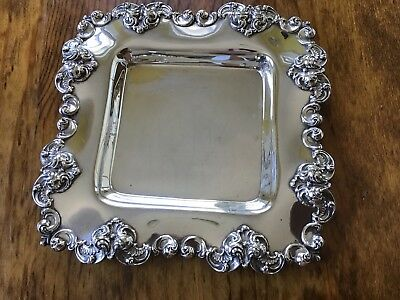 "Gorham 158g Sterling Silver 6.5"" Square Plate Dish Vanity Tray c1899 NO MONOS"
