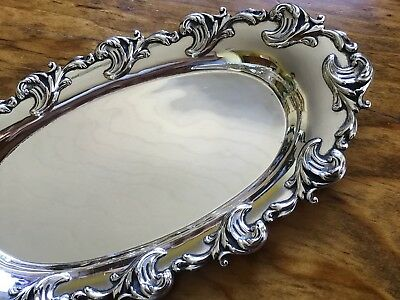 Shiebler 118g Sterling Silver Scrolled dish vanity pin card tray NO MONO Oval 8""