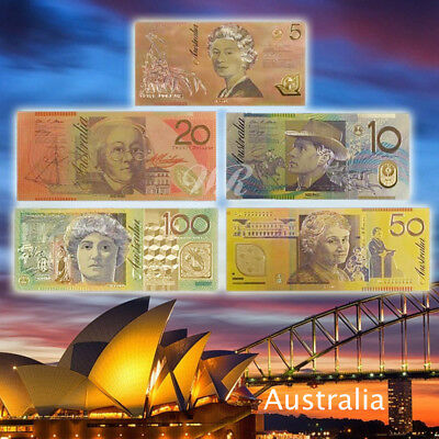 WR Color Gold Australia Banknote Set 5/10/20/50/100 AUD Australian Dollar Gifts