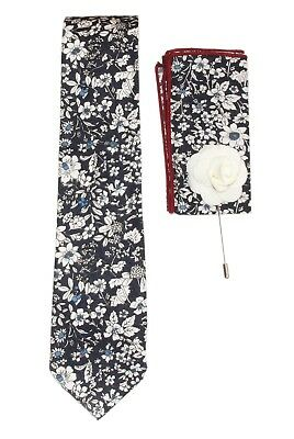 """New 3 Piece Men's Navy Blue Wildflower Tie 8"""" x 8"""" Pocket Square and Lapel Pin"""