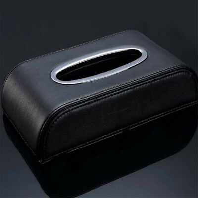 PU Black leather Car Tissue Napkin Box Cover Papers Holder Home Office Bar JW