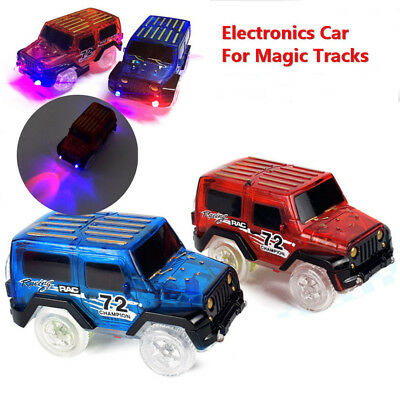 LED Light Up Cars For Magic Tracks Electronics Car Toys With Flashing Lights JW