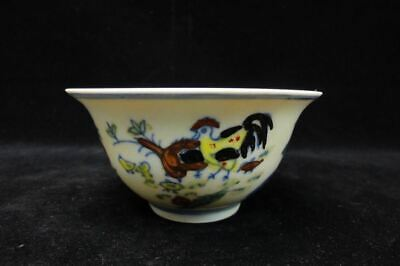 "Ancient Chinese Hand Painting Chicken Porcelain Cup ""ChengHua"" Mark"