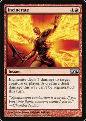 FOIL Incinerate Magic the Gathering Core 2012 M12 ~~~~ NEAR MINT