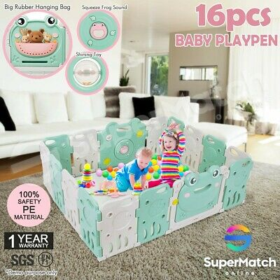 16PCS Plastic Baby Playpen Panel Sided Interactive Kids Safety Gates Frog Design