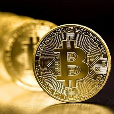 Gold Bitcoin Commemorative Round BTC Collectors Coin Bit Gold Plated Coins