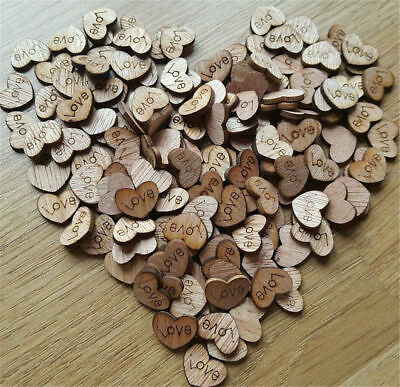 100pcs Rustic Wooden Wood Love Heart Wedding Table Scatter Decoration Craf~1