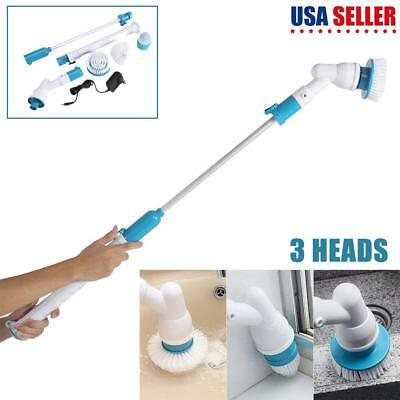 3 Heads Electric Spin Scrubber Cleaning Brush Bathroom Floor Tiles Home Cleaning