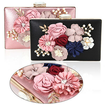 Women Wedding Evening Purse Clutch Bag Beaded Party Prom Handbag Pearl Flower UK