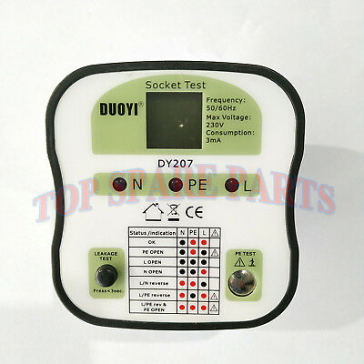 DY207A (UK Version) Electrical Socket Polarity & Loop Impedance & RCD Tester
