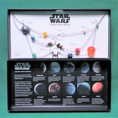 Star Wars Galactic Planetary Orbital Necklace Silver Plated Steel & Stones