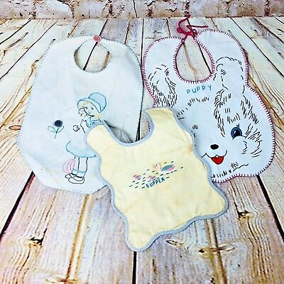 vintage lot of 3 baby bibs cotton embroidered