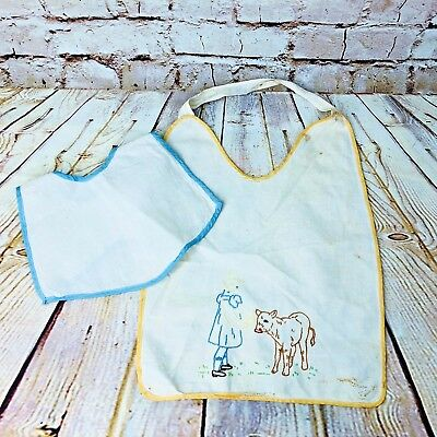vintage lot of 2 baby bibs cotton embroidered