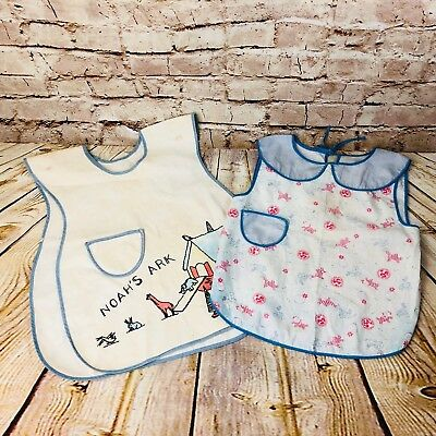 vintage lot of 2 child smock bibs cotton embroidered cottage craft prairie cover