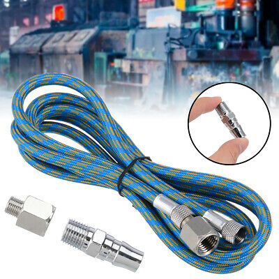 6/'Braided Airbrush Air Hose Adapter w// 2x 1//8/'/' BSP Fitting Coupling Compress AL