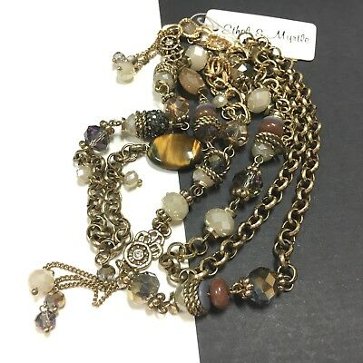 ETHEL & MYRTLE Beaded Crystal, Brown Tigers Eye Long Gold Chain Necklace KK147e