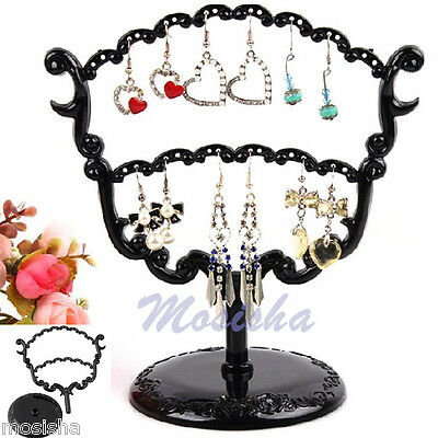 Black 28 Holes Tree Retro Earrings Organizer Jewelry Holder Display Stand Rack
