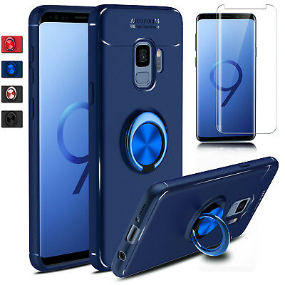 For Samsung Galaxy S10 Plus/5G/S9 Note 9 Case Ring Holder Cover+Screen Protector