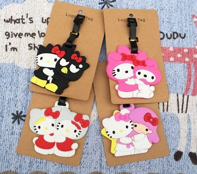 My Melody Cat Anime Luggage Tag PVC Pendants Portable Travel Label Suitcase