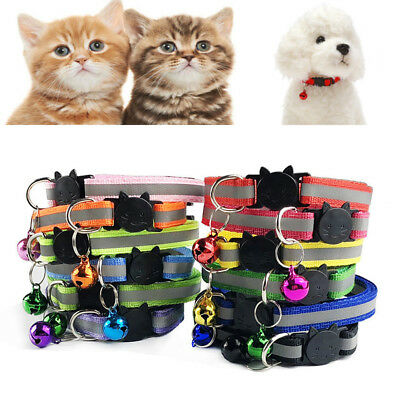 Adjustable Night Safety Nylon Necklace Reflective With Bell Buckle Pet Dog Cat
