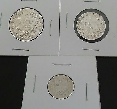 Lot of Silver Coins 1891 Full Set of Three Coins Bulgaria Ferdinand I