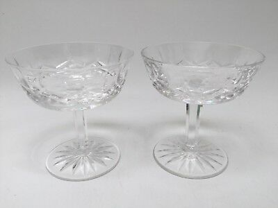 Set of 2 Waterford Crystal Lismore Champagne Coupe Sherbet Glass Pristine!