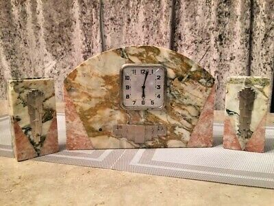Art Deco marble mantel clock and matching garnitures