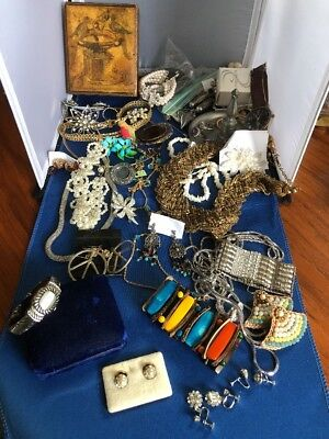 Antique Vintage Junk Drawer Jewelry Lot Estate Sale Find With Box
