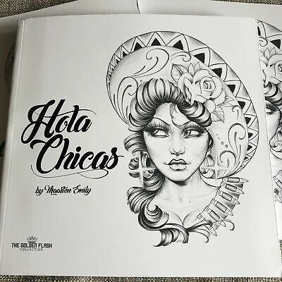 Hola Chicas - Chicano Girl Black & Grey Tattoo Reference Flash Book