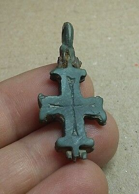 Perfect Ancient Bronze Pendant Unopened Cross ENKOLPION Viking c.11-12AD #308