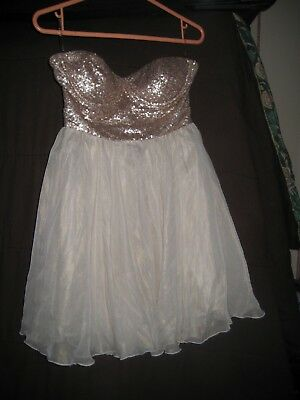 563ac9347b65 Lipsy London Bustier Sequin Party Dress Size 10 Gold & Ivory, Tulle Skirt  New