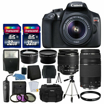 Canon EOS Rebel T6 SLR Camera + EF-S 18-55mm & 75-300mm Lens + 64GB Card + More