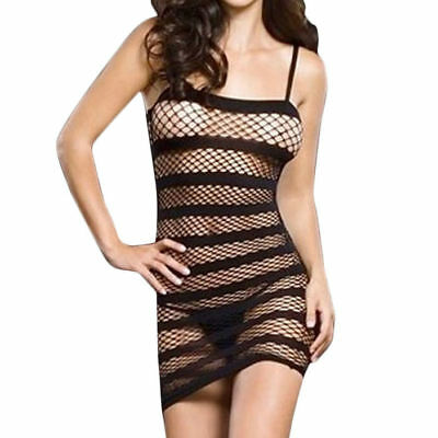 Abito A Rete Nero Sexy Mini Dress A Maglie Lingerie Hot Donna Taglia Unica Nero