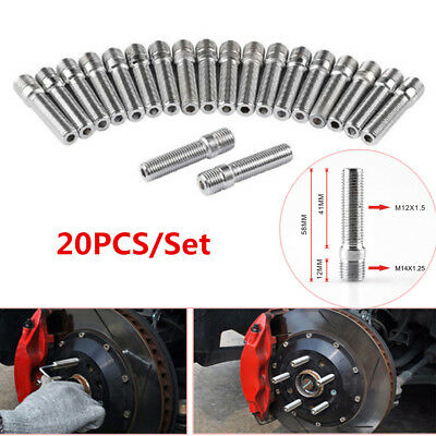MagiDeal 20 Pieces 58mm 14x1.5 to 12x1.5 Rim Wheel Conversion Converter Adapter Bolt Studs