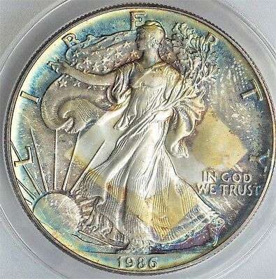 Anacs 1986 MS66 uniquely toned first year issue, price sticker toning