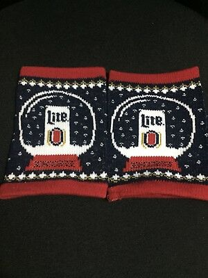 Miller Lite Knit Christmas Koozie Coozie Brand New Lot Of 2 (two)
