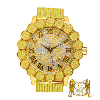IceHouse Men Watch Simulated Diamond Roman Dial Canary Iced Out 55mm Gold Finish