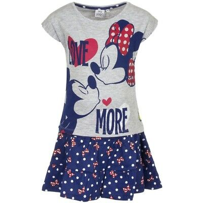 Minnie Mouse Tshirt And Skirt Set Girls BNWT Age 4 Years Grey/Blue
